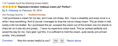 A. Holloway's Amazon Review of the 50 ml Screw Top Infinity Jar
