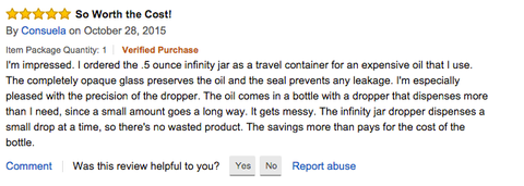 Consuela's 15 ml Glass Dropper Bottle Infinity Jars Amazon Review