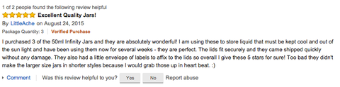 LittleAche's 50 ml Screw Top Infinity Jar Amazon Review