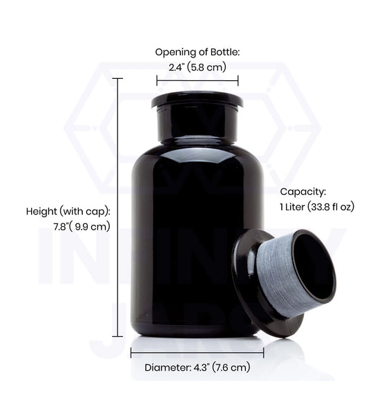 1 Liter Glass-on-Glass Apothecary Jar - InfinityJars