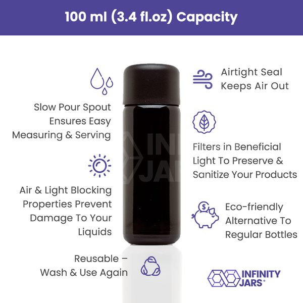 100 ml Glass Slow Pour Bottle - InfinityJars
