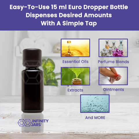 15 ml Glass Essential Oil Bottle with Euro Dropper Cap - InfinityJars