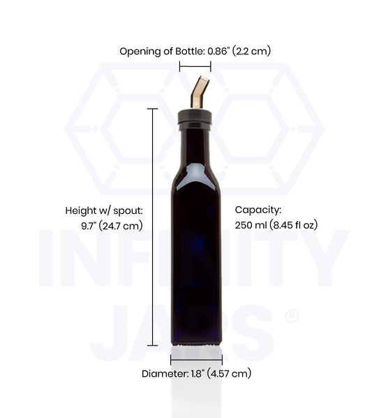 250 ml Square Glass Bottle with Oil Spout - InfinityJars