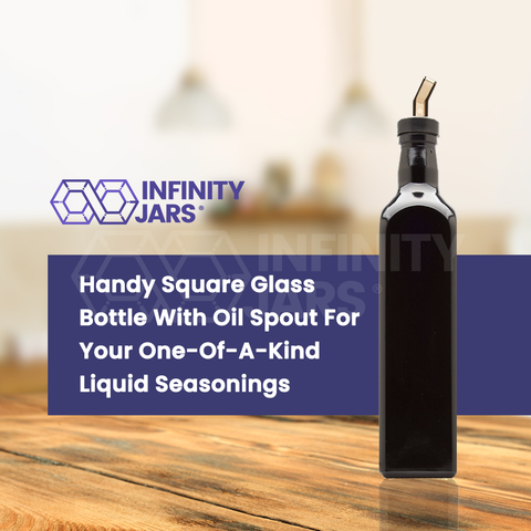 500 ml Square Glass Bottle with Oil Spout - InfinityJars