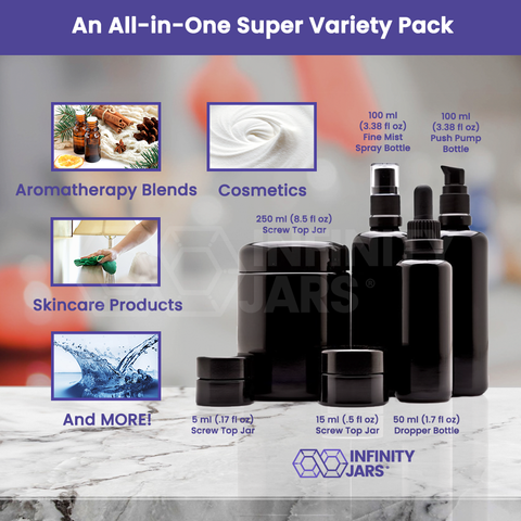 Cosmetic DIY Variety Pack: 5 ml, 15 ml and 250 ml Screw Top Jars, 100 ml Pump, 100 Fine Mist Spray, 50 ml Dropper Bottle - InfinityJars