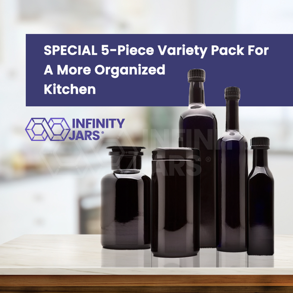 Kitchen Glass Jars Set: 250 ml, 1 L Oil Bottles, 500 ml Long Neck Bottle, 1 L Screw Top, 1 L Apothecary - InfinityJars