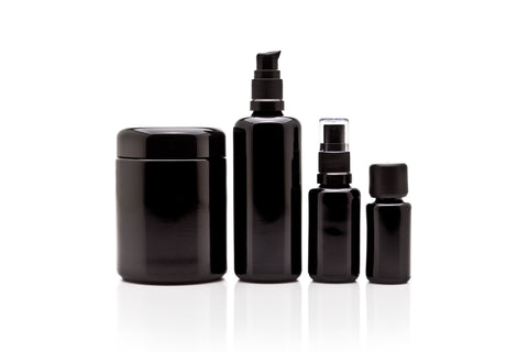 Economy Cosmetic DIY Variety Pack: 250 ml Screw Top Jar, 100 ml Push Pump Bottle, 30 ml Fine Mist Bottle and 15 ml Euro Dropper - InfinityJars