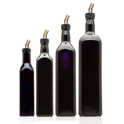 Square Oil Bottle 4 Bottle Variety Pack With Oil Spouts - InfinityJars