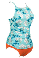 Blue Dream Flower Print Tankini Set - beachsissi