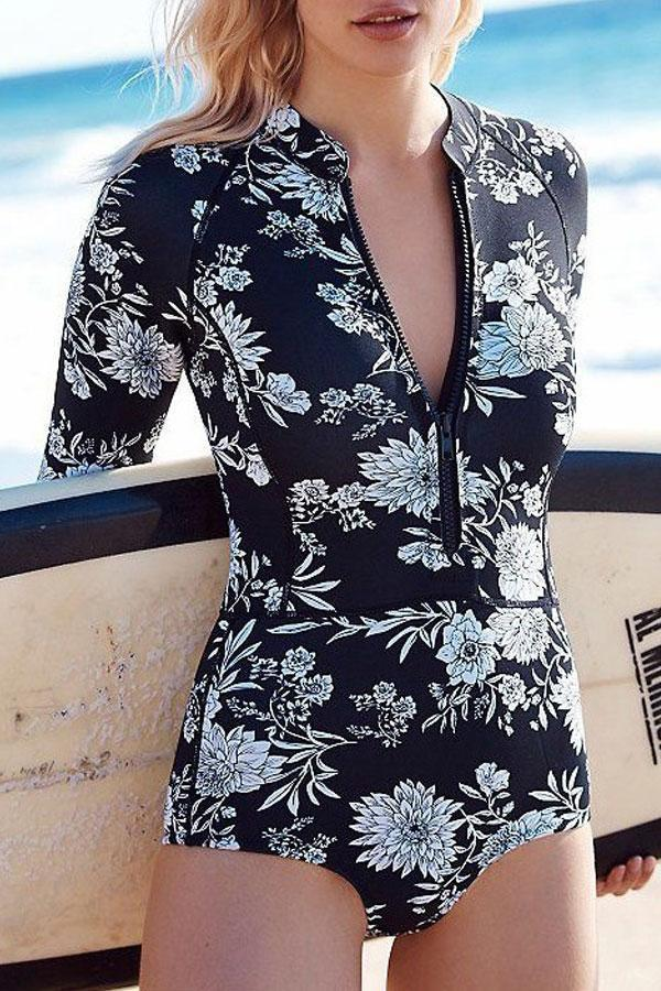 Long Sleeved Print One-piece Swimwear