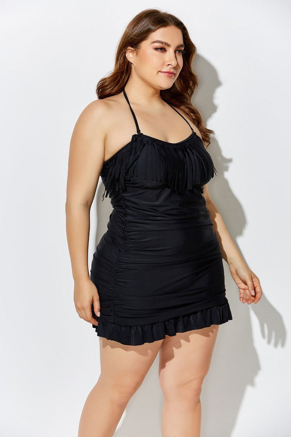BLACK FRINGE BANDEAU SWIMDRESS and Shorts