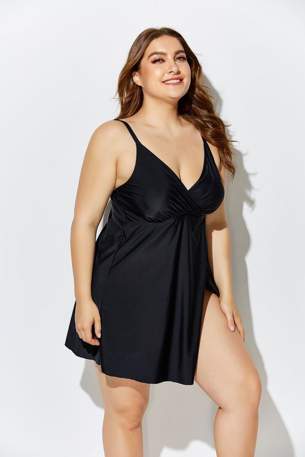 BLACK FLYAWAY BRA SIZED UNDERWIRE SWIMDRESS