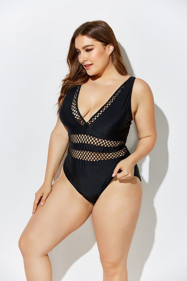 BLACK LATTICE PLUNGE ONE PIECE SWIMSUIT