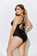 CEO BLACK LACE UP ONE PIECE SWIMSUIT