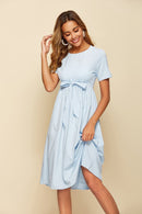 Soft Woven Button-Fast-Fit Short-Sleeved Dress