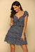 Navy Tie Front Frilled Mini Dress