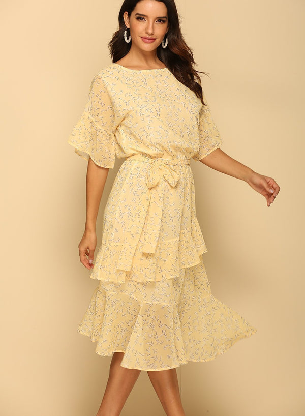 Round Neck Ruffled Sleeves Floral Summer Dress