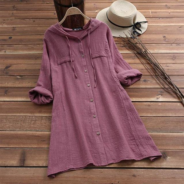 2019 Women Spring Hoodies Long Sleeve Buttons Cotton Linen Shirt Blouse For Women