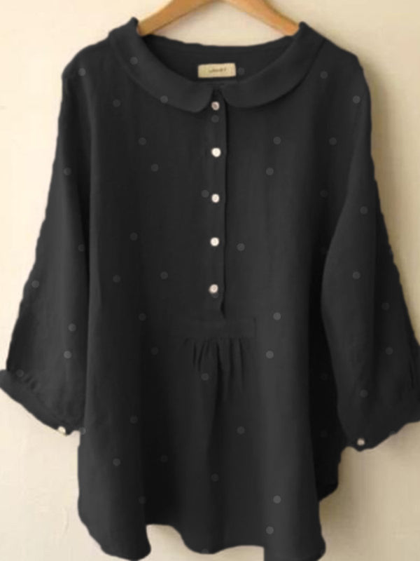 Long Sleeve Cotton-Blend Blouse