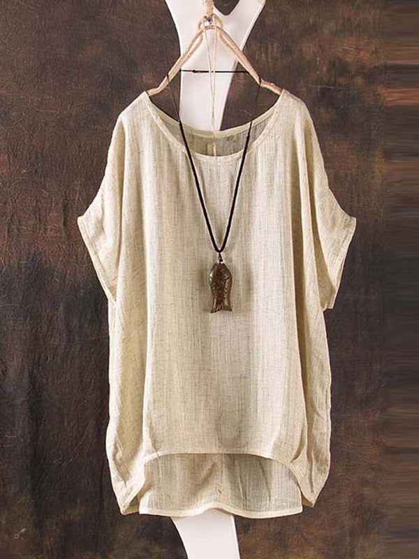 Plus Size Crew Neck Short Sleeve Linen Blouse