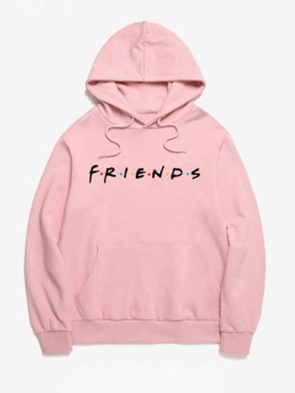 8 Colors Letter Friends Long Sleeve Simple & Basic Casual Hoodies