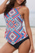 Geometric Print Wide Strap Tankini Set