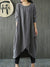 Black Solid Casual Crew Neck Cotton Maxi Dress