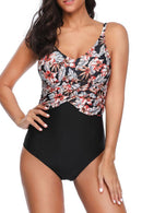 V Neck Flower Print One Piece Swimwear