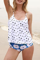 Polka Dot & Flower Print Tankini Set