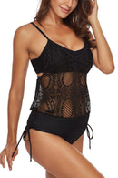 Sheinlove Black Lace Panel Tankini Set