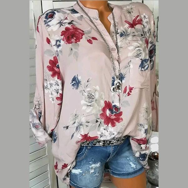 Women's Fashion Sexy V Neck Long Sleeve Printed Blouse
