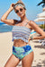 Blue High Waist Printed Smocked Bikini