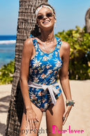 Blue One-piece Floral Printing Swimsuit
