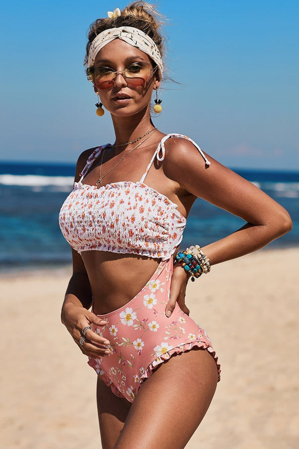Multicolor Smocked One Piece Swimsuit