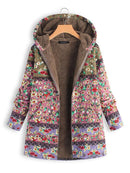 Patchwork Hoodie Casual Quilted Faux Fur Winter Coats