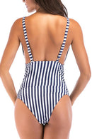 Knot Front Stripe One Piece Swimwear