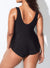 BLACK SARONG FRONT ONE PIECE SWIMSUIT
