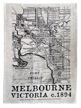 Load image into Gallery viewer, 1894 map of Melbourne linen tea towel by Melbournalia