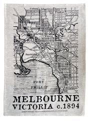 1894 map of Melbourne linen tea towel by Melbournalia