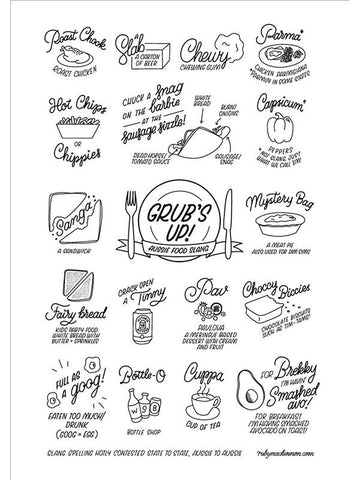 Grub's Up Tea Towel