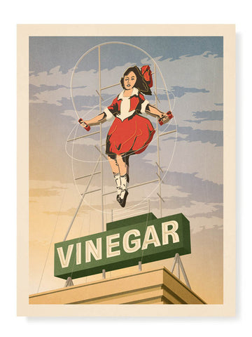 Skipping Girl Vinegar Sign Print / Sunset Sky