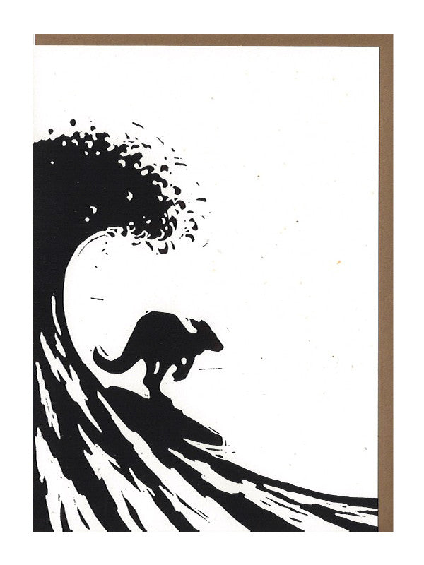 Surfing kangaroo Card