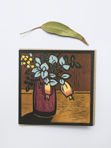 Native flower lino cards