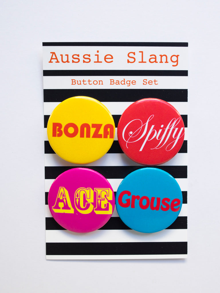 Aussie Slang Button Badge Set