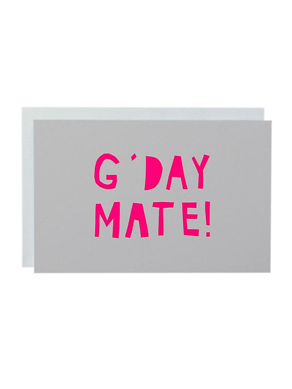 G'Day Mate Card neon pink