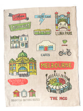 Load image into Gallery viewer, Melbourne Places Tea Towel