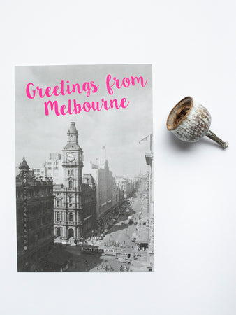 Greetings from Melbourne Magenta: Bourke Street Postcard