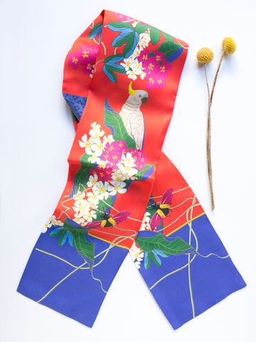 Frangipani with Cocky Twill Silk Scarf