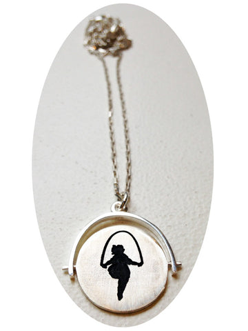 Skipping Girl Spinner Necklace