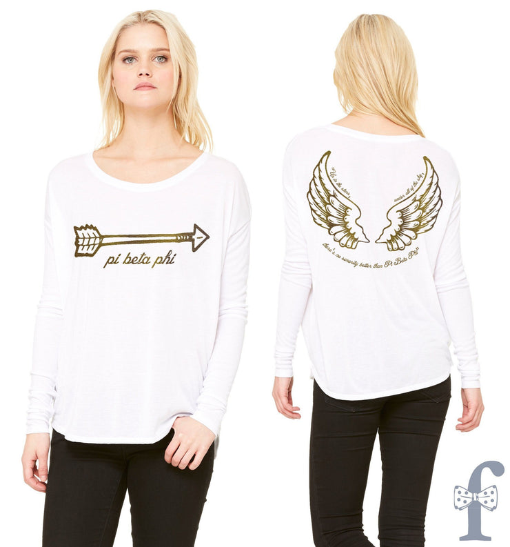 Pi Phi Angel Long Sleeve - Royal Gold